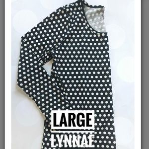 NWT LulaRoe Black and White Lynnae Polka Dots L